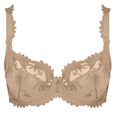 CARAMEL NUDE BALCONETTE WITH EMBROIDERY