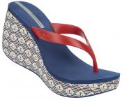 MARINE BLUE WITH RED TOE THONG HIGH WEDGE SANDAL