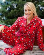 RED PYJAMAS WITH PENGUIN PRINT