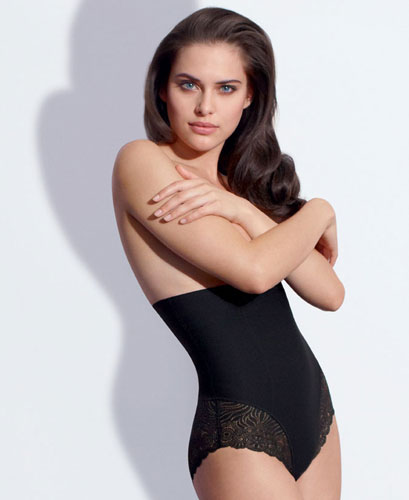 BLACK SHAPING LONG BRIEF WITH LACE BOTTOM