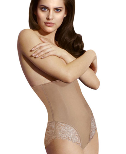 NUDE LONG WAIST SHAPING BRIEF WITH LACE BOTTOM
