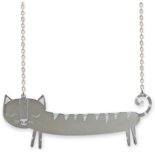 catnap large silver sausage cat necklace by Littlemoose